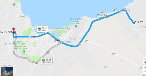 パイアからサムサトウズへの地図