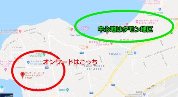 グアムタムニング地区の地図